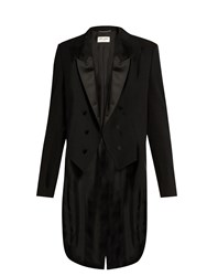 Saint Laurent Peak Lapel Satin Trimmed Wool Tailcoat Black