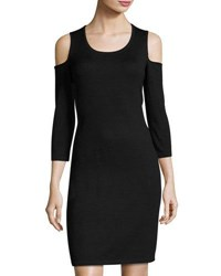 Neiman Marcus Cold Shoulder Scoop Neck Sheath Dress Black