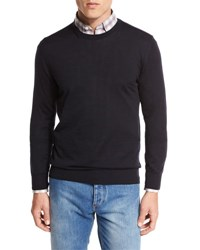 Ermenegildo Zegna High Performance Merino Wool Crewneck Sweater Navy Nvy Sld