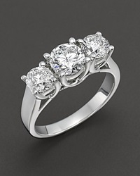 Bloomingdale's Certified Three Stone Diamond Ring In 18 Kt. White Gold 2.0 Ct. T.W.