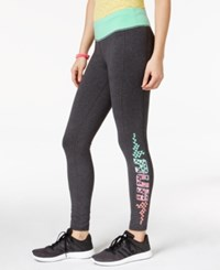 Material Girl Active Juniors' Graphic Print Leggings Only At Macy's Charcoal