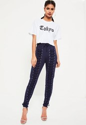 Missguided Navy Extreme Lace Up Front Joggers