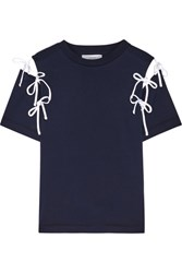 Facetasm Cutout Bow Embellished Cotton Jersey T Shirt Navy