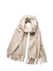 Johnstons Of Elgin Cashmere Natural Stripe Stole Neutral