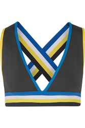 P.E Nation The Mountain Striped Stretch Jersey Sports Bra Black