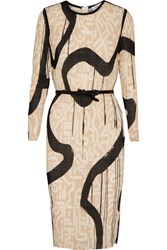Max Mara Bina Printed Plisse Georgette Dress Cream