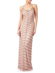 Adrianna Papell Chevron Beaded Column Gown Rose Gold
