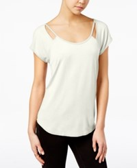 Almost Famous Juniors' Strappy Cutout T Shirt Natural