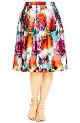 City Chic Plus Size Women's 'Bright Pop' Floral Print Pleat Skirt