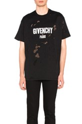 Givenchy Destroyed Logo Tee In Black