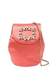 Roger Vivier Trianon Mini Satin Backpack W Crystals Peach