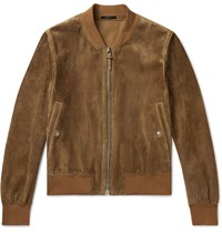 Tom Ford Perforated Suede Bomber Jacket Brown