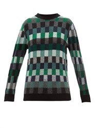 The Elder Statesman Checked Cashmere Sweater Green