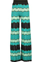 M Missoni Crochet Knit Cotton Blend Wide Leg Pants Blue