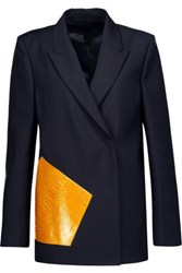 Acne Studios Deana Pa Dry Croc Effect Leather Paneled Wool And Mohair Blend Jacket Midnight Blue