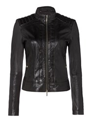 Hugo Boss Collarless Leather Jacket Black