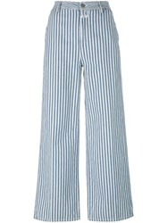 Closed Striped Wide Legged Trousers White