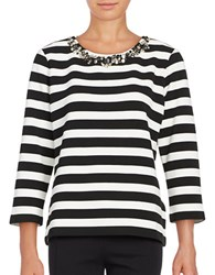 Karl Lagerfeld Embellished Crewneck Long Sleeve Knit Top White