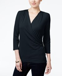 Charter Club Petite Printed Faux Wrap Top Created For Macy's Deepest Navy