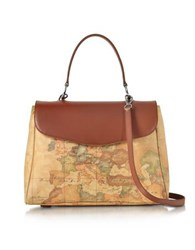 Alviero Martini 1A Classe Geo Print Coated Canvas And Leather Satchel Bag W Shoulder Strap