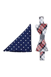 Alara Silk Plaid And Stars Bow Tie And Pocket Square Set Red