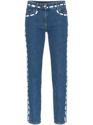 Moschino Low Rise Painted Seam Detail Jeans Blue