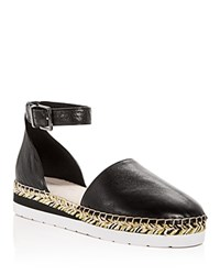 Kenneth Cole Babbot Leather D'orsay Espadrille Platform Sandals Black