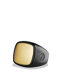 David Yurman Signet Ring In Black Titanium And Gold Black Gold