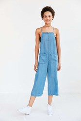Bdg Chambray Square Neck Culotte Jumpsuit Light Blue