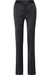 Gabriela Hearst Walmer Silk Straight Leg Pants Navy