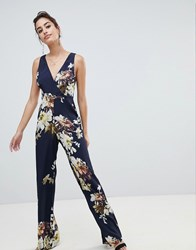 Hope And Ivy Floral Open Back Jumpsuit Black Floral
