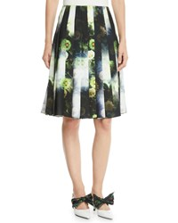 Prada Pleated Floral Print Knee Length Skirt Green Pattern