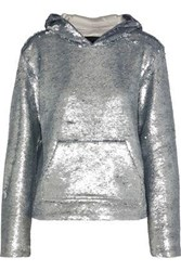 Rta Woman Ainsley Sequined Cotton Blend Hoodie Silver