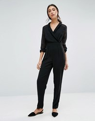 Girls On Film Jumpsuit With Lace Sleeves Black