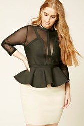 Forever 21 Plus Size Mesh Peplum Top Black