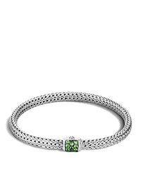 John Hardy Classic Chain Sterling Silver Lava Extra Small Bracelet With Tsavorite Green Silver