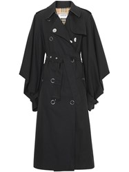 Burberry Cape Sleeve Gabardine Trench Coat Black
