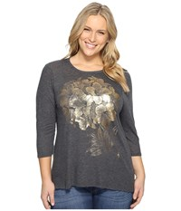 Lucky Brand Plus Size Gold Azalea Tee Black Beauty Women's T Shirt