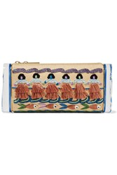 Edie Parker Soft Lara Luau Embroidered Raffia And Acrylic Box Clutch Beige