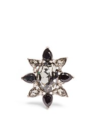 Oscar De La Renta Tropical Bloom Crystal Ring Black Multi