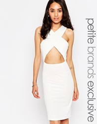 True Decadence Petite Cross Front Bodycon Dress White