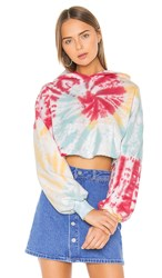 Lovers Friends Tie Dye Crop Hoodie In Blue. Sorbet Swirl