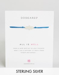 Dogeared Sterling Silver All Is Well Royal Blue Silk Adjustable Wish Bracelet Silver Royal
