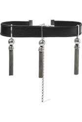 Sophie Buhai Benton Gates Tasseled Silver And Textured Leather Choker One Size