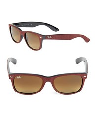 Ray Ban Faux Suede Trimmed Wayfarer Sunglasses Brown