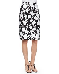 Kate Spade Floral Print Midi Pencil Skirt Black