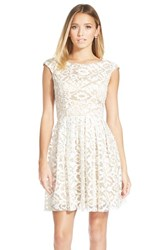 Women's Sean Collection Applique Mesh Fit And Flare Dress