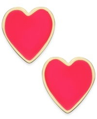 Kate Spade New York Gold Tone Colorful Heart Stud Earrings Pink