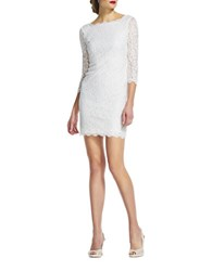 Adrianna Papell V Back Lace Dress White