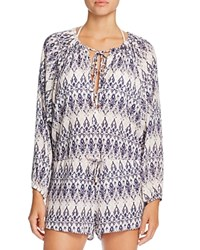 Eberjey Rumba Reed Romper Swim Cover Up Pale Pink Deep Blue
